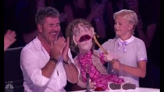 darci lynne her naughty old lady puppet edna makes simon cowell blush americas got talent 2017