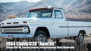 """1964 Chevy C20 """"Apache"""", STRONG 350 V8, Custom Interior, Fresh Overhaul, Black Underside!"""