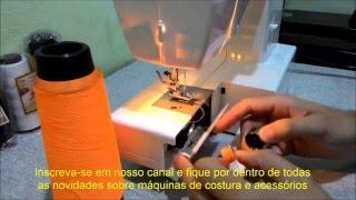 Máquina de Costura Doméstica com Fio de Overlock na Bobina