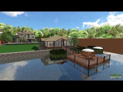 Ландшафтный дизайн участка 13 соток с баней на берегу пруда