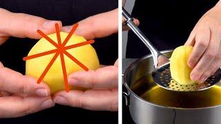 Делаем вот такой надрез на картофеле, наполняем и запекаем. Как вкусно!
