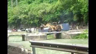 Truck flips on Flat Bridge - road from Kingston back to the North Coast