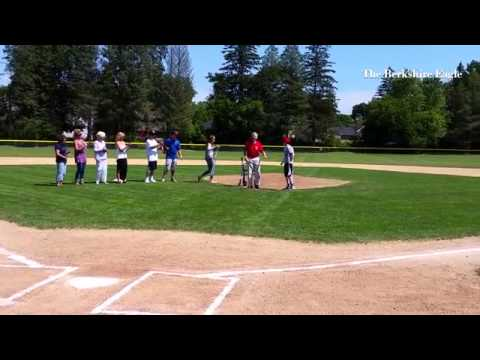Buddy Pellerin and grandson Ryan Robbins throw out ceremonial first pitches at 15 year old Babe Ruth
