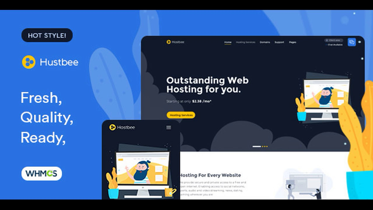 Hustbee – Hosting HTML & WHMCS Template Cracked
