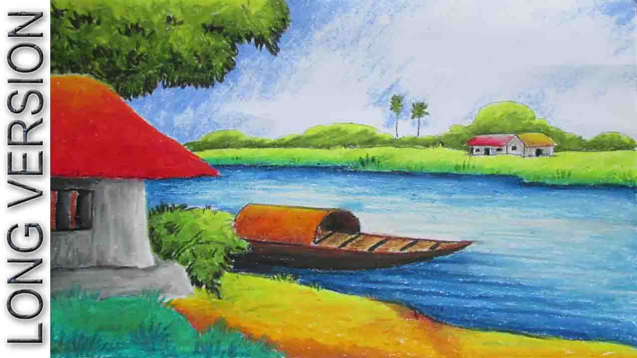 Pastel painting oil pastel landscape drawing tutorial for Fish scenery drawing