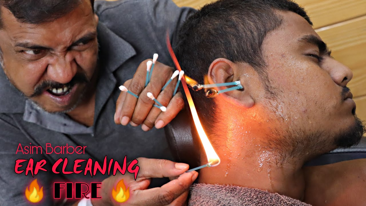 Ear Cleaning By Asim Barber   Head Massage & Neck Cracking   FIRE ASMR