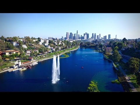 Flying Drone at Echo Park Lake and Dodgers Stadium in LA