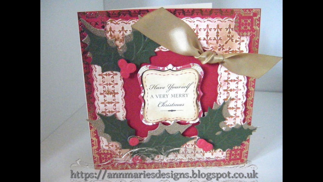Anna Griffin Christmas Cards.261 Christmas Card Project Anna Griffin Christmas Holly Emboss Card