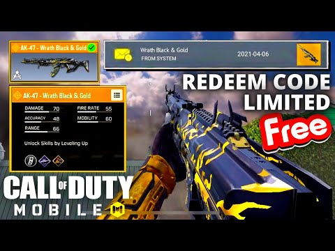 New AK47 Wrath Black U0026 Gold Legendary Skin Redeem Code   Call Of Duty Mobile   Codm Redeemption Code