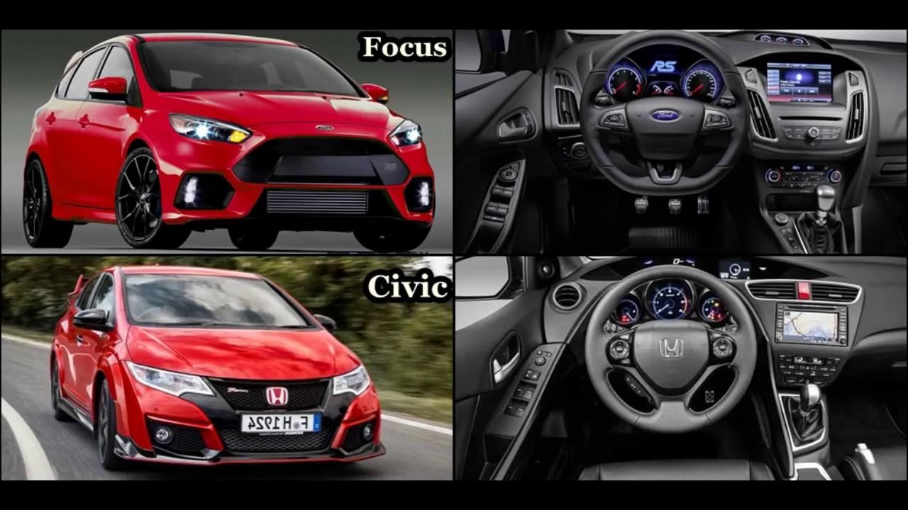2016 Ford Focus Rs Vs 2016 Honda Civic Type R Youtube