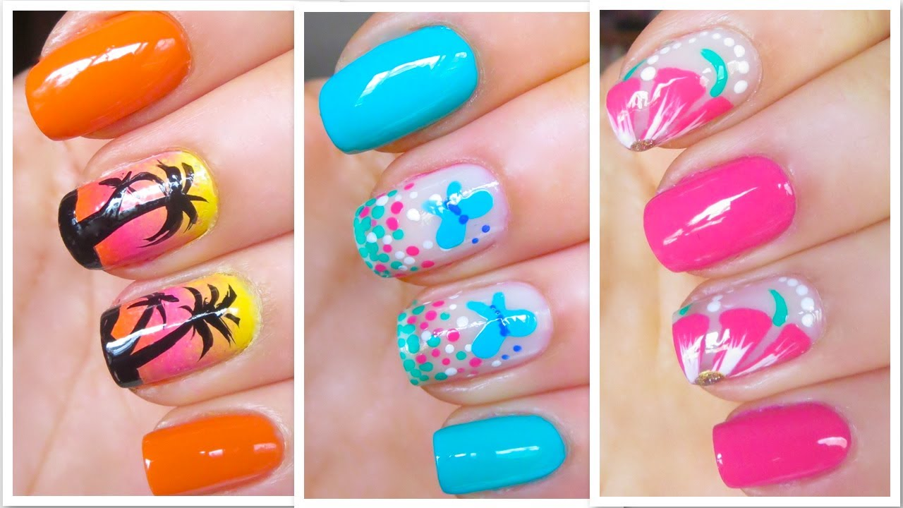 3 Cute Nail Art Designs For Springsummer 3 Youtube