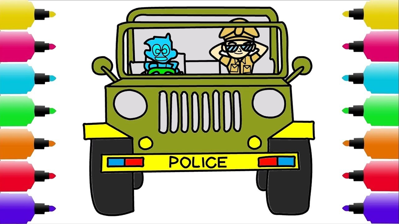 How To Draw Police Car Little Singham Drawing Coloring Pages By Learning Kids Tv