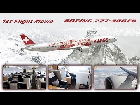 Swiss Boeing 777-300 First Flight Day Business + First Class Views [AirClips full flight series]