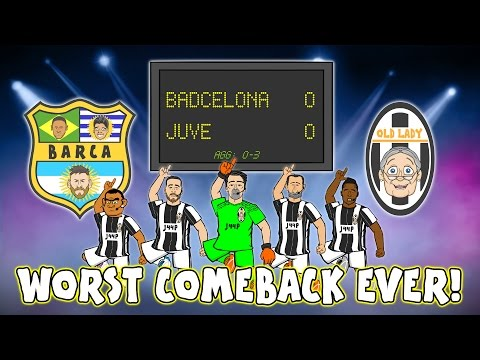 😆WORST COMEBACK EVER😆Juve beat Barca! (0-0 Champions League Quarter Final 2017 Parody Highlights)