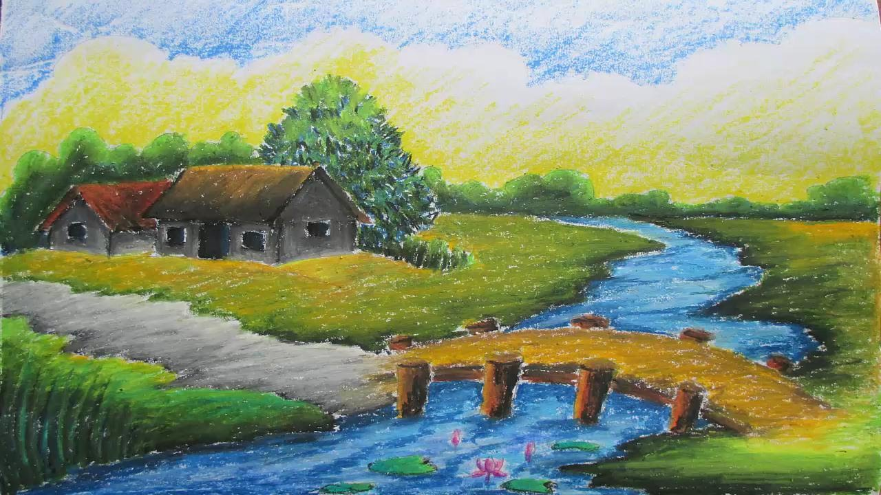 Pastel Tutorial  How To Draw A Village Landscape With Oil Pastels   Episode9