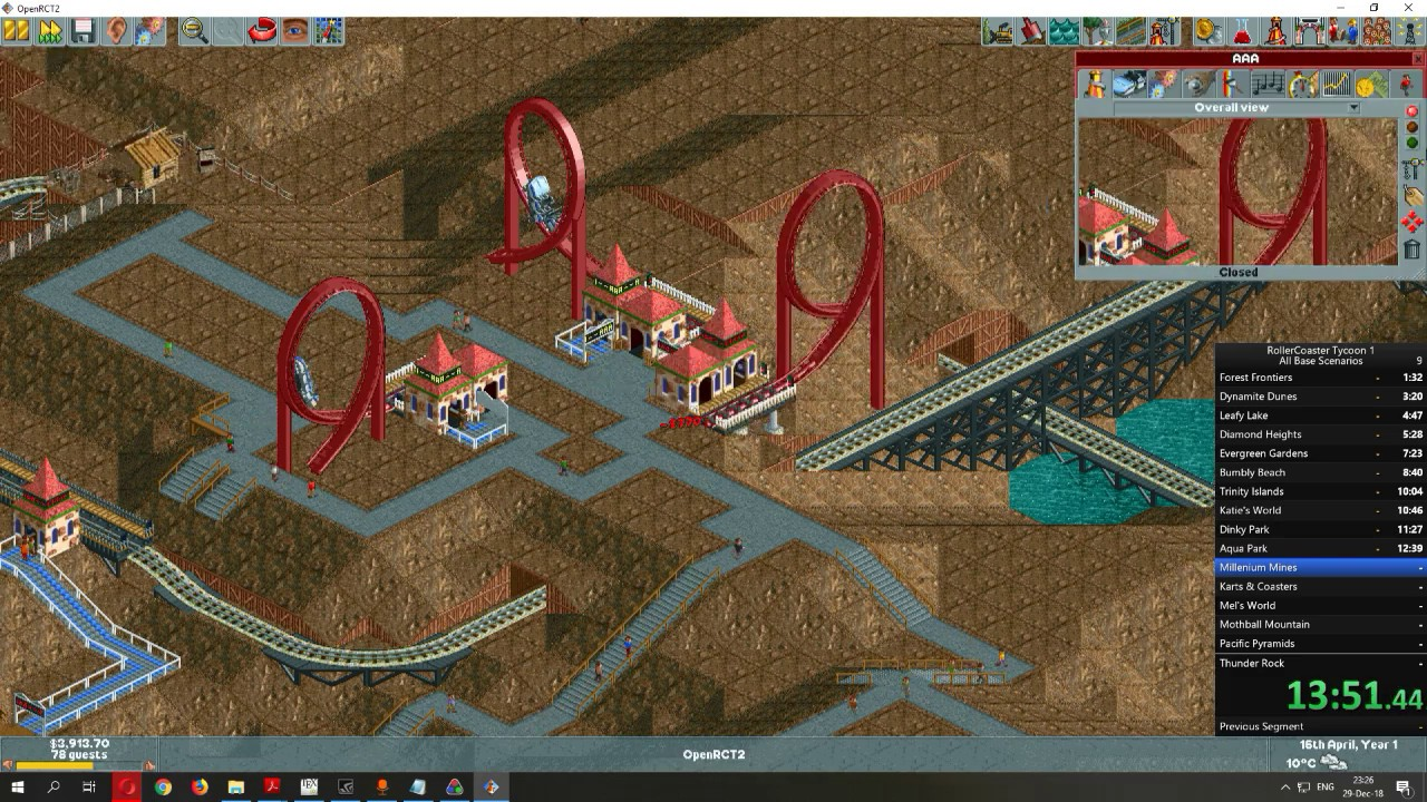 OpenRCT2 Speedrun - All original RCT scenarios in 35:00