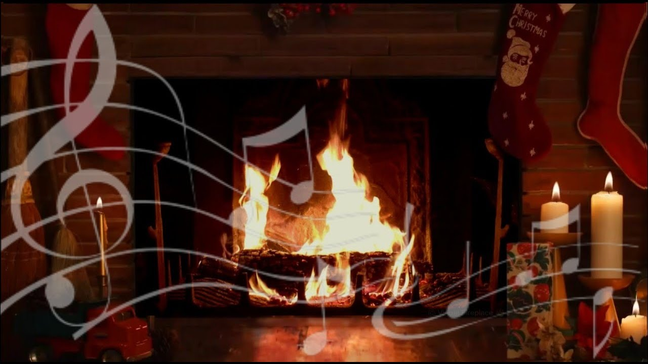 cozy yule log fireplace with crackling christmas music hd youtube