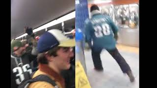Eagles fan getting everyone in the subway pumped before the game