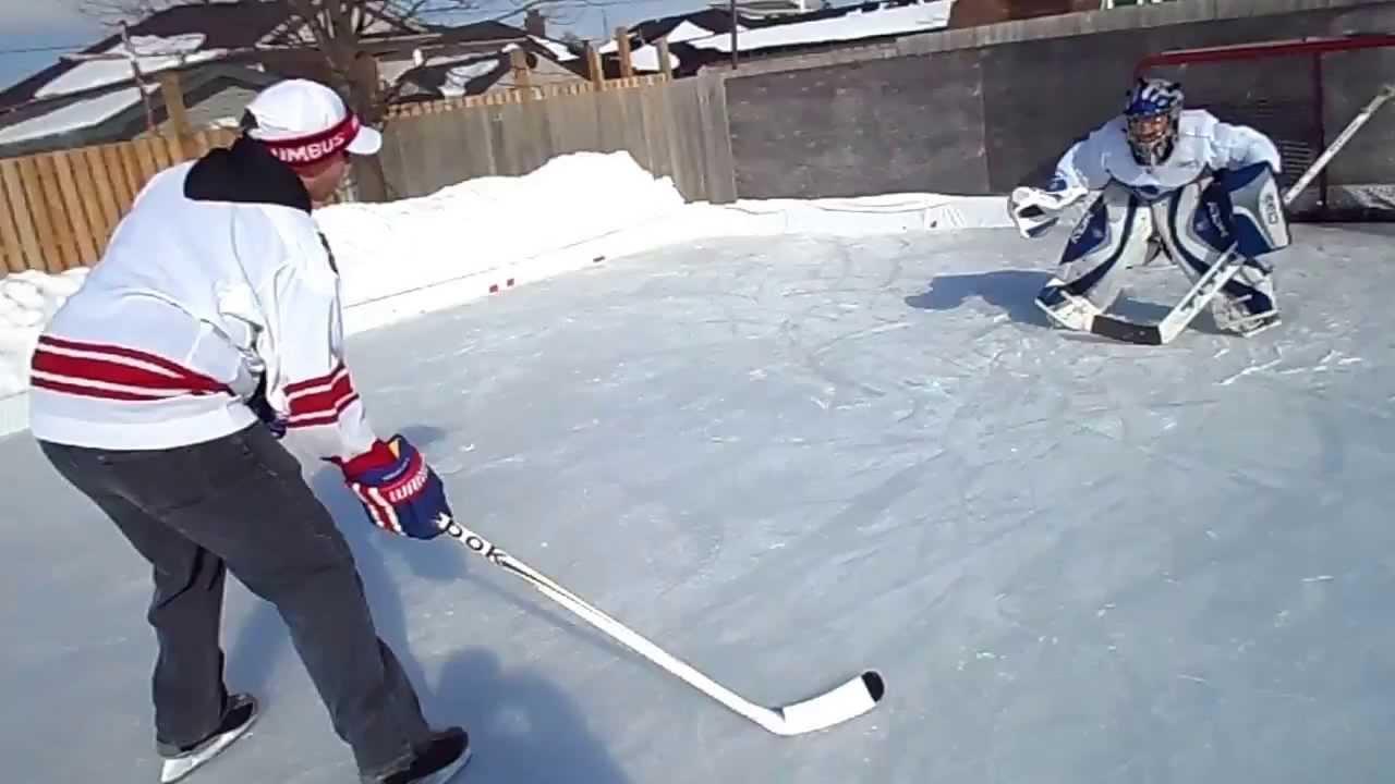 blocker save on shootout attempt on backyard rink youtube