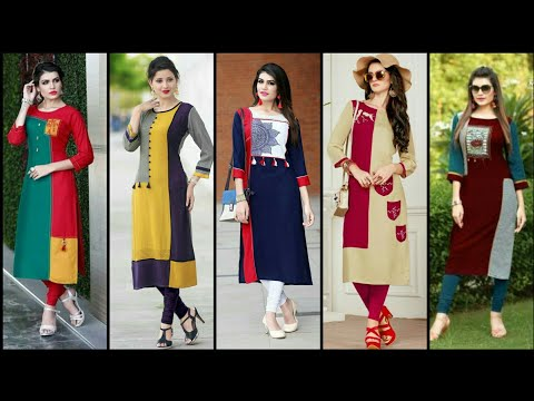 High Class Stylish And Trendy Designer Party Wear Plain Contrast Kurti Design