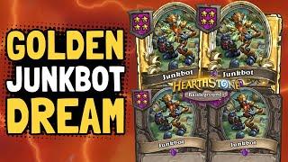 DOUBLE GOLDEN JUNKBOTS!! Can We Get a Third?   Battlegrounds   Hearthstone