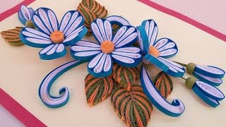 Paper Quilling  | Birthday greeting cards  with Blue & White Flowers