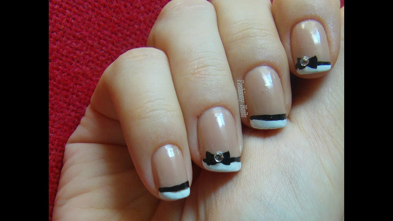 Bow Nail Art Tutorial - YouTube