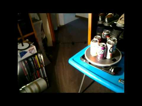 Making a colour video of rotating cans from a B&W camera