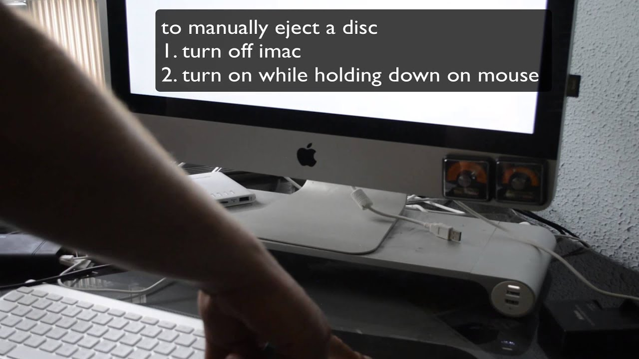how to manually eject a disc from imac youtube. Black Bedroom Furniture Sets. Home Design Ideas