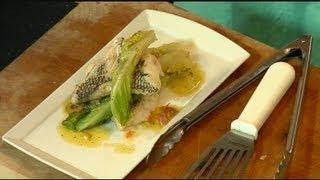 Black Sea Bass with Mediterranean Olive Sauce Vierge