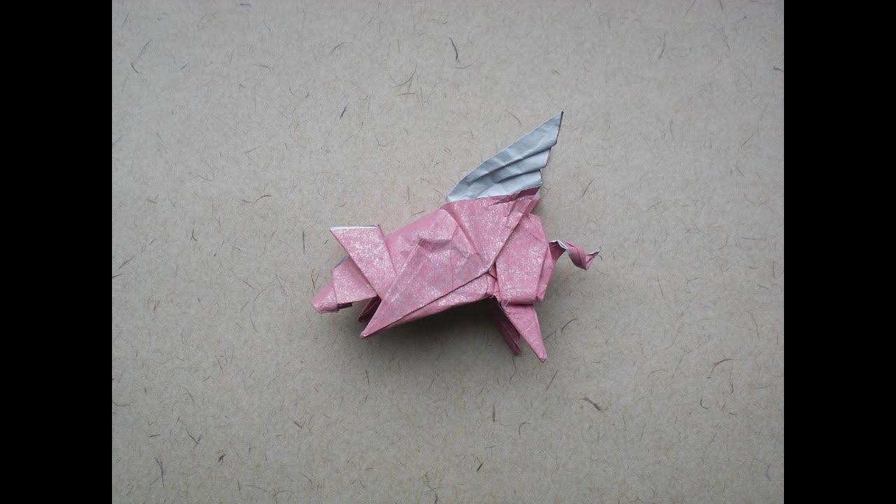 origami flying pig bodo haag tutorial youtube