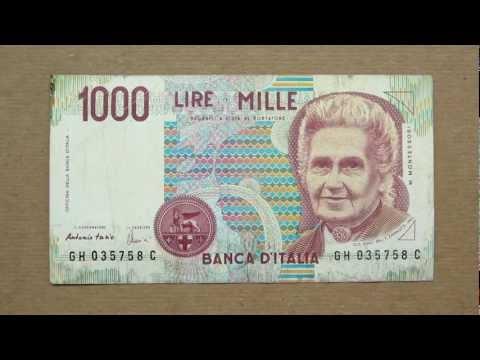 1000 Italian Lire Banknote (Thousand Italian Lire / 1990), Obverse And Reverse
