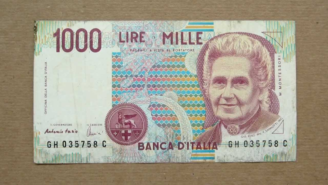 1000 Italian Lire Banknote Thousand 1990 Obverse And Reverse You