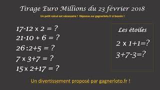 RESULTAT TIRAGE EUROMILLIONS 23 FEVRIER
