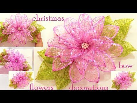 Como hacer fácil moños flores decoraciones adornos de Navidad /DIY chritsmas ideas