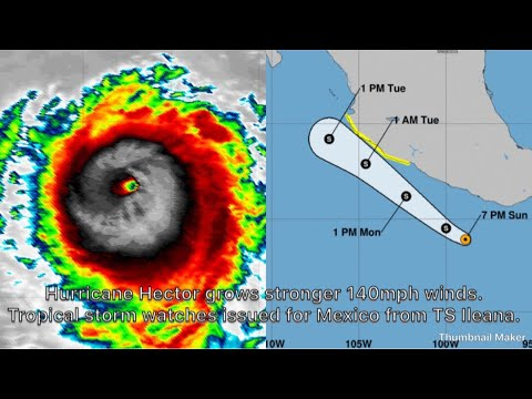 Hurricane Hector grows stronger 140mph. Tropical storm watches issued for Mexico from TS Ileana.