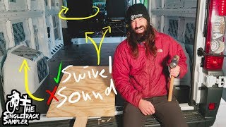 SWIVEL SEATS ARE AWESOME!! And Pretty Easy... // Singletrack Sampler Van Build (Ep.1)