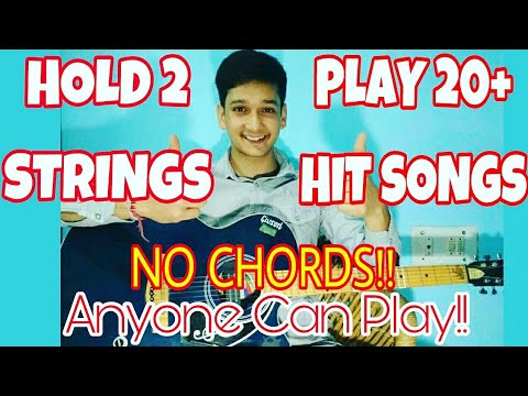 No CHORDS Mashup!! Hold 2 Strings-Play 20+ Songs |Anyone Can Play |Easiest Guitar Lesson Beginners