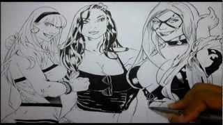 Speed Drawing Gwen Stacy, Mary Jane e Gata negra