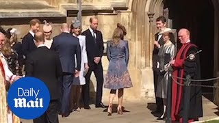 Duke and Duchess of Cambridge and Harry arrive for Easter service