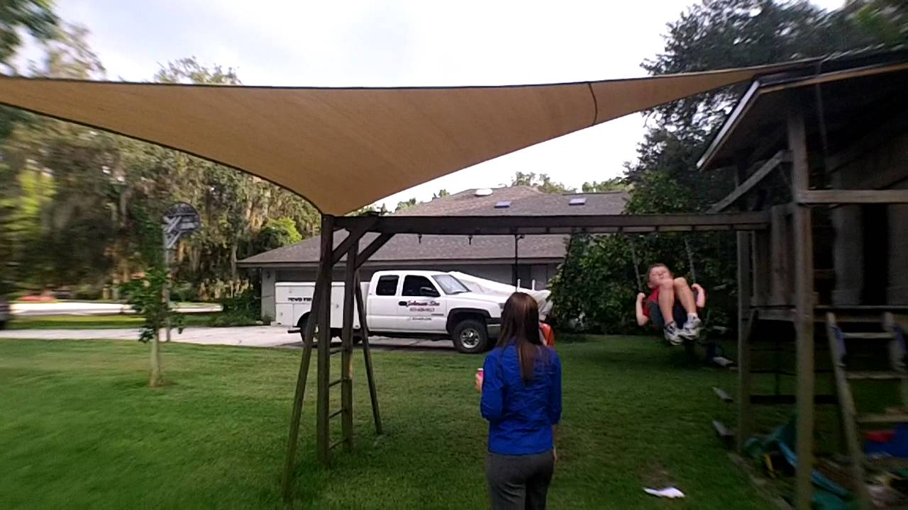 & Great sun shade install over swing set for kids - YouTube
