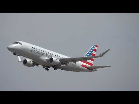 American Eagle Airlines Flight AA 3723 Take Off Little Rock Airport Embraer RJ-175