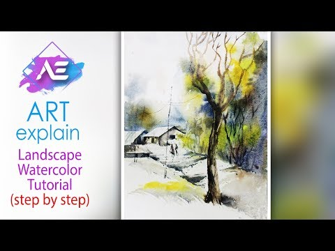 Soft Landscape Watercolor Painting Tutorial | How to paint a watercolor landscape | Art Explain