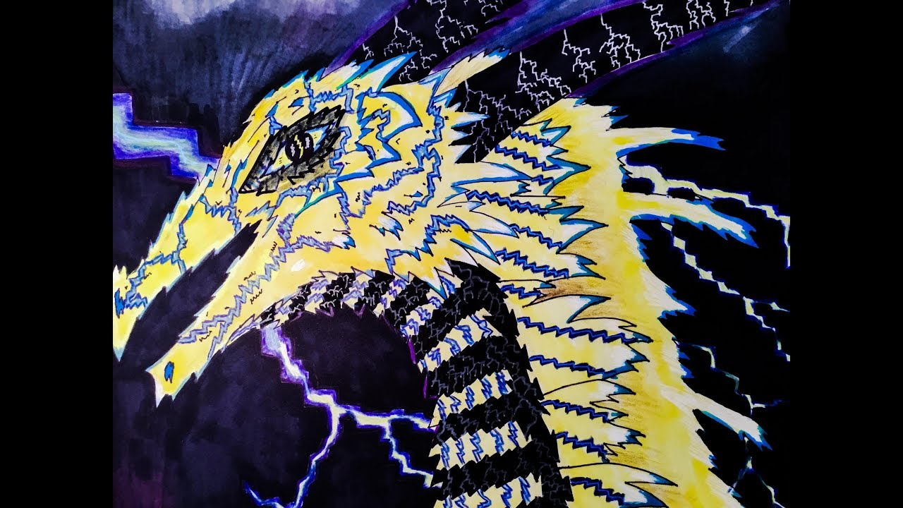 Drawing of a Lightning Dragon 2D - YouTube