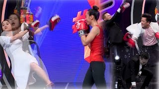 """Cười Lâm Vỹ Dạ bị """"hoa hậu Boxing"""" đánh - Anh Đức gục ngã khi Trường Giang đánh vào """"chỗ ấy"""""""