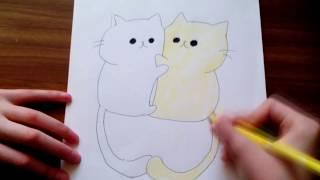 Уроки рисования | Как нарисовать влюбленных няшных котиков | Рисуем легко и просто | #10