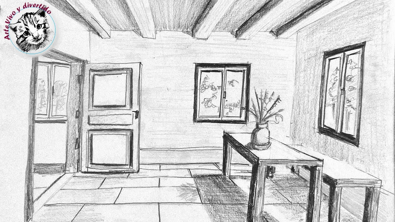 Como Dibujar una Habitacion  en Perspectiva de Un Punto muy Facil y Paso a Paso