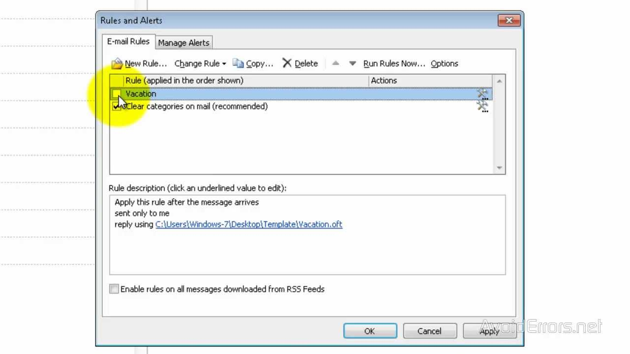 Set Auto Reply Message In Outlook 2010 Youtube