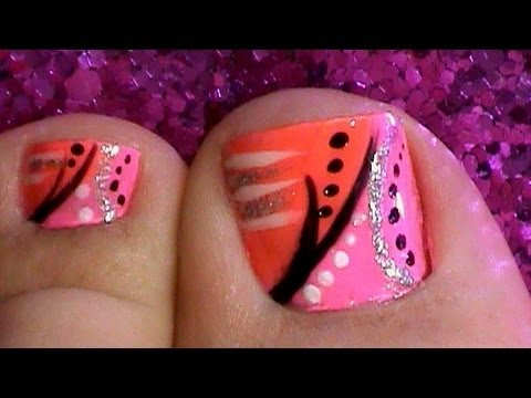 Abstract Toe Nail Art Design Tutorial Pink Orange Youtube