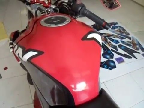 Custom Decal Vinyl Striping Motor Full Body Yamaha Vixion Thema Red Gray Strip by DIGITIVE